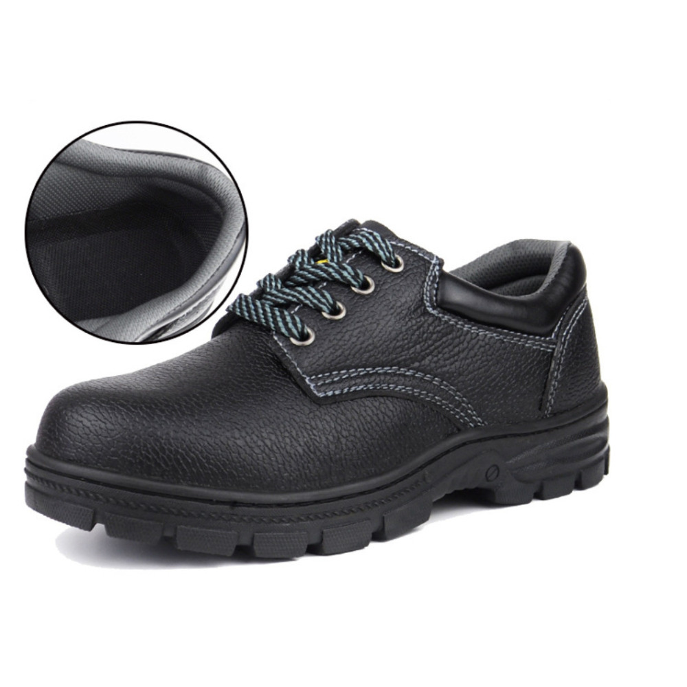 Unisex Steel Toe Cap Leather Work Safety Shoes midsole protecton oil resistant sole(China (Mainland))