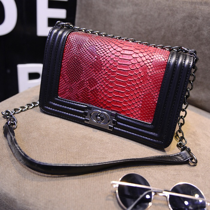 2015 New Fashion women handbag brief snakeskin pattern shoulder bags women messenger bags leather handbags Women Crossbody Bags(China (Mainland))