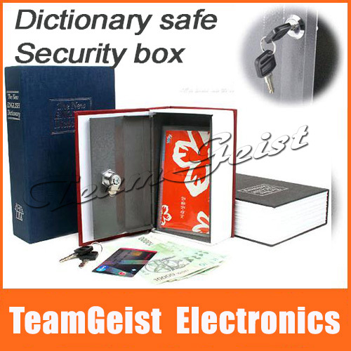 Novelty mini Safe Security Book Dictionary Shape Cash Money Box Locker & Key safe Book box Promotion Gift Small Free Shipping