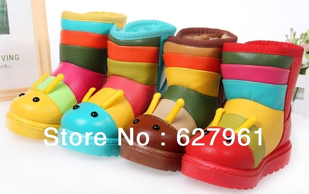 2013 new arrival winter mixed colors caterpillar cartoon children's snow boots  / Boys shoes/ Girls shoes/ Yellow Blue Brown Red