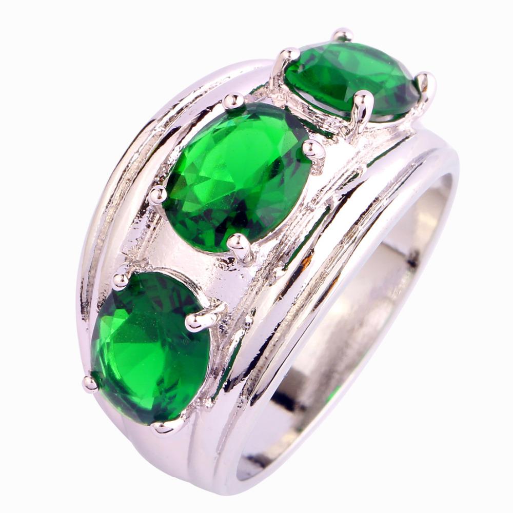 2016 New Fashion Emerald Quartz Silver Ring Size 7 8 9 10 Elegant Oval Cut Jewelry Gift Women - WEILING Co.,Ltd 2014 store