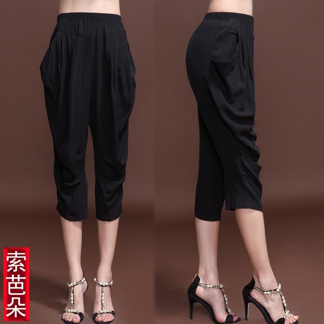 Quality mulberry silk pants plus size silk legging silk harem capris pants s610