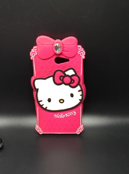 For Sony Xperia M2 S50h Case Diamond Hello Kitty Silicone Design Cell Phone Back Defender Cases Cover(China (Mainland))