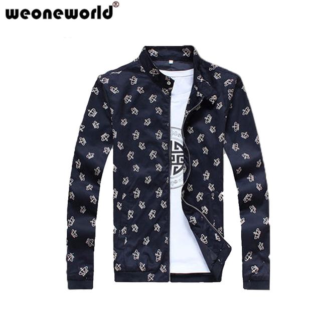 WEOORLD 2016 Новый Куртка Мужская Мода Печатных Свет Осень Мужской Куртки Высокого ...