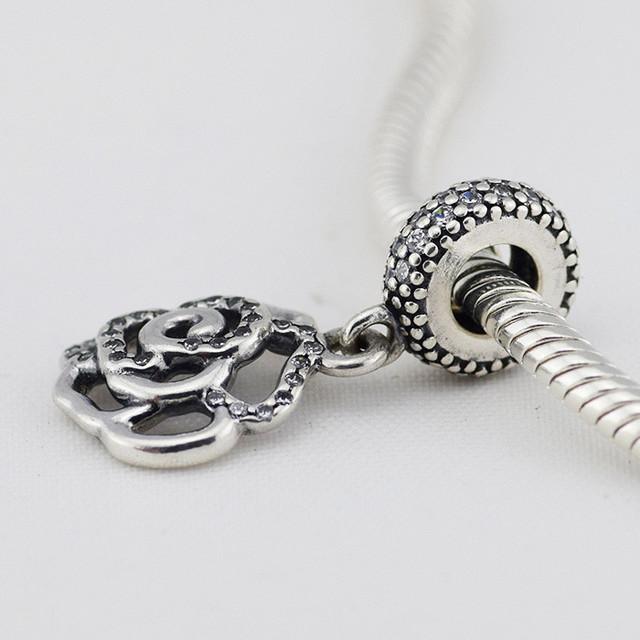 Подходит Pandora Браслет Оригинальные Стерлингового Серебра 925 Бусины Ажурный Цветок Очарование С Ясно CZ Камень DIY Решений