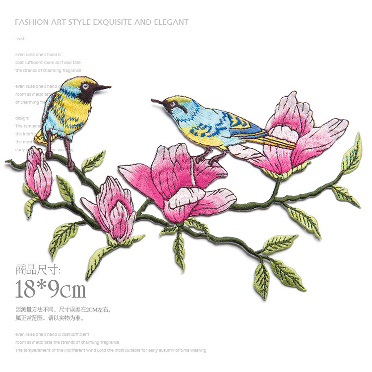 Bird with The Magnolia Flower Design Clothes Patches Embroidered Sew On Patches Lace Motifs Applique Sewing Accessories TH162(China (Mainland))