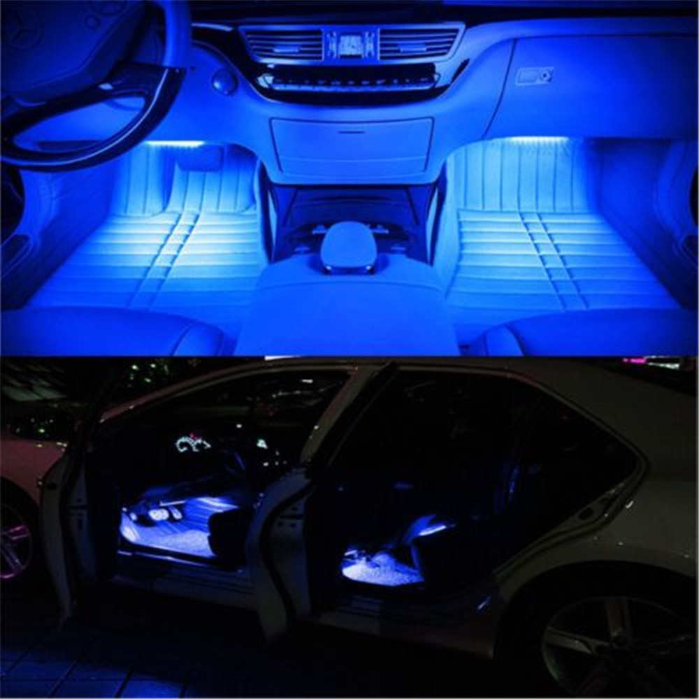 9 LED 4 In1 Blue Car Charge Interior Light Accessories Foot Car Decorative(China (Mainland))