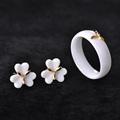 Golden Flower Ceramic Wedding Bridal Jewelry Sets Women Sergi Femme Bijoux Exquisite Rhinestone CZ Diamond Ring