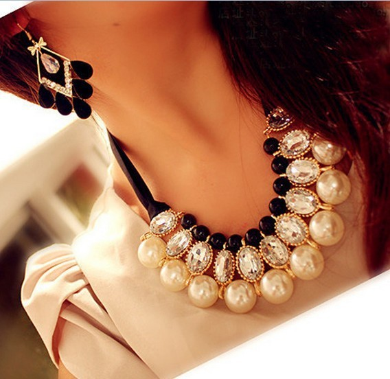 New Fashion Multilayer Simulated Pearl Choker Necklace for Women Pearl Pendant Necklace with Crystal Rhinestone X013