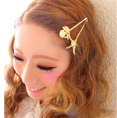 Hotsale fashionable gold plated alloy leaf starfish conch charm hair clips hairpins women jewelry - Lady Jewelry Company store