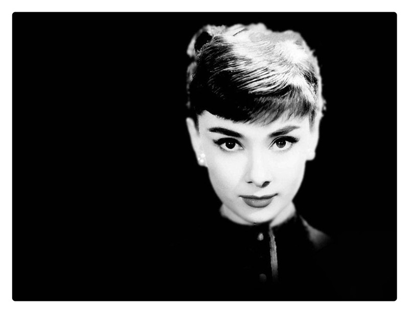 White and black beautiful Hepburn image wall picture canvas art painting stretched ready to hang framework canvas print gift(China (Mainland))