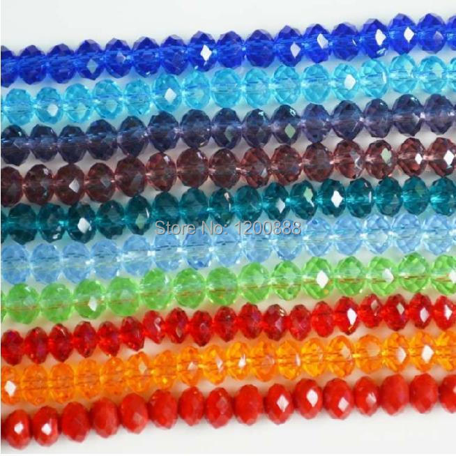 DIY Jewelry Making: Faceted Abacus Glass Beads 6x4.5mm Assorted Colors 1 Strand 4B271(China (Mainland))