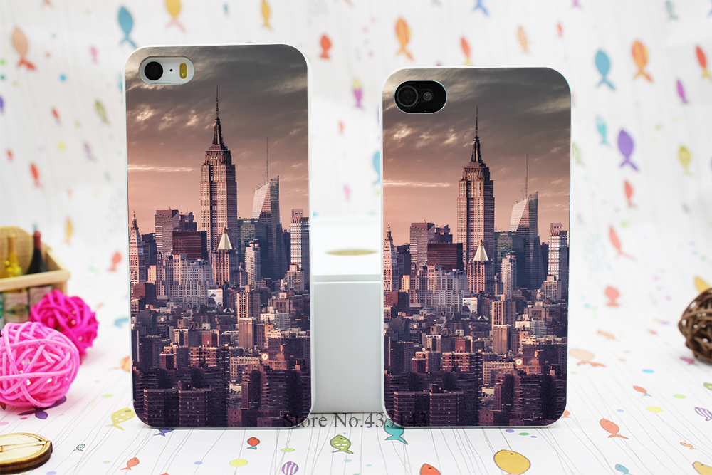 New York City Skyline Pink Unique Travel Style Hard White Skin Case Cover for iPhone 5 5s 5g(China (Mainland))