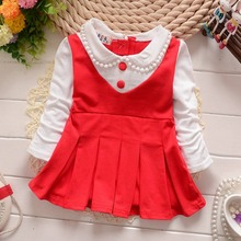 Spring  Long Sleeve Faux Two Piece baby Party Birthday girls kids Children dresses, princess infant Dress Roupa Vestido S2352(China (Mainland))