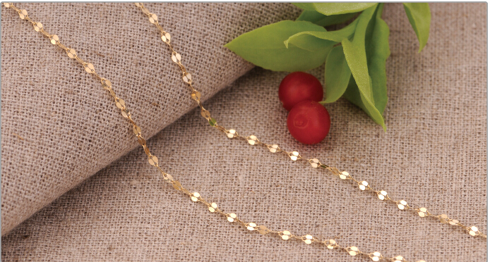 FINE AU750 Solid 18K Yellow Gold Necklace chain 17inch Length(China (Mainland))