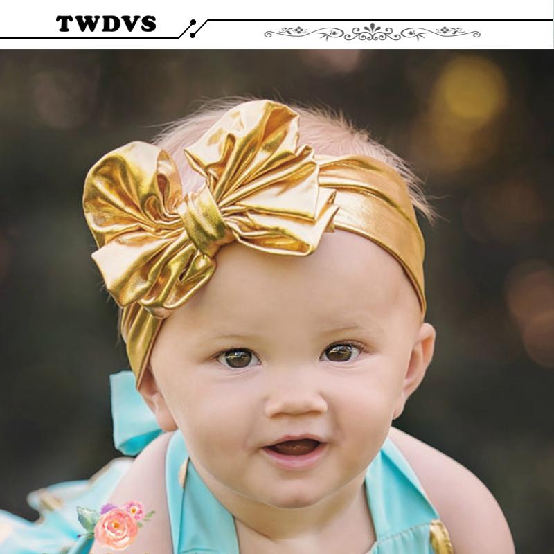 Kids Cool Shining Big gold Bow Knot Elasticity Headband Newborn Ring Hair Accessories Elastic Bow Hair Band T13(China (Mainland))