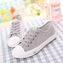 Belle is older autumn low lacing base plate solid color breathable casual couple canvas shoes35-44#