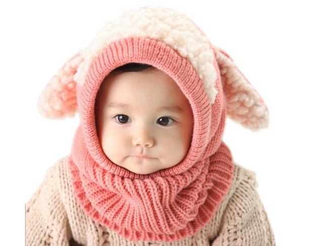 2015 Winter New Baby Five Color Hat Scarf Joint With Dog Style Crochet Knitted Caps for Infant Boys Girls Very Lovely Warm Hat(China (Mainland))