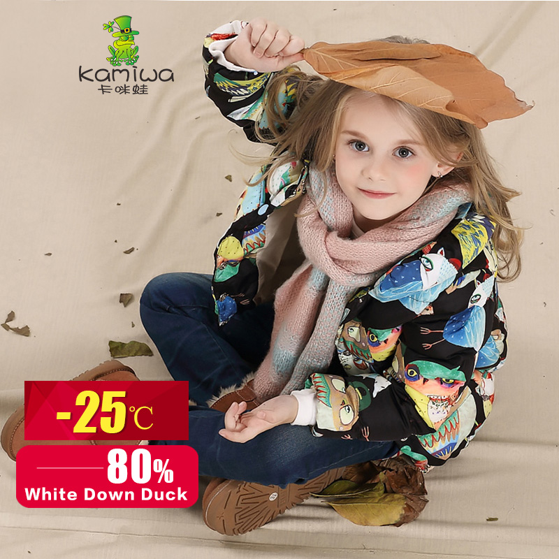 2016 Owl Printing Girls Winter Coats And Jackets Kids Outwear Warm Down Jacket Girls Clothes Parkas Children Baby Girls Clothing(China (Mainland))