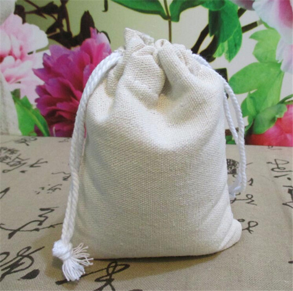 High quality 10x13cm 50 pcs hemp Jute Cotton and line Drawstring Christmas Gift soap coffee bean tea packaging bag(China (Mainland))