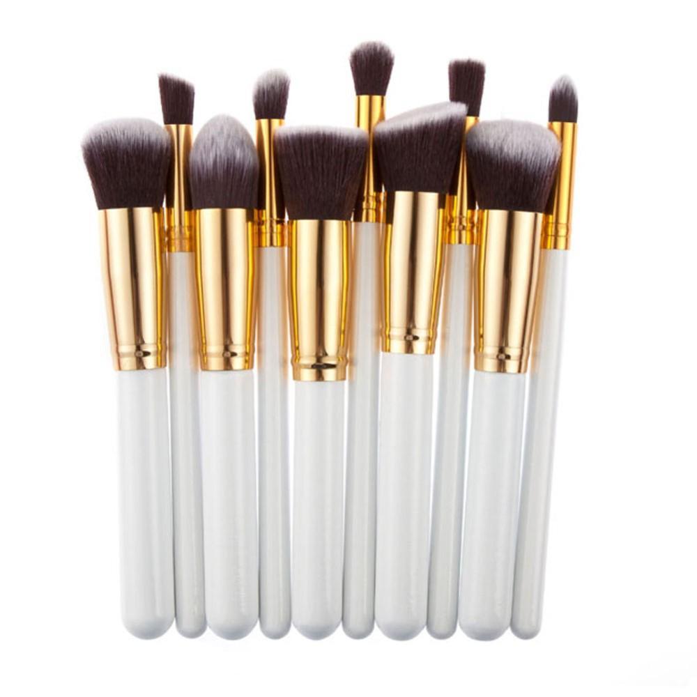 2016 10pcs White Golden Makeup Brushes Professional Makeup Brushes ...