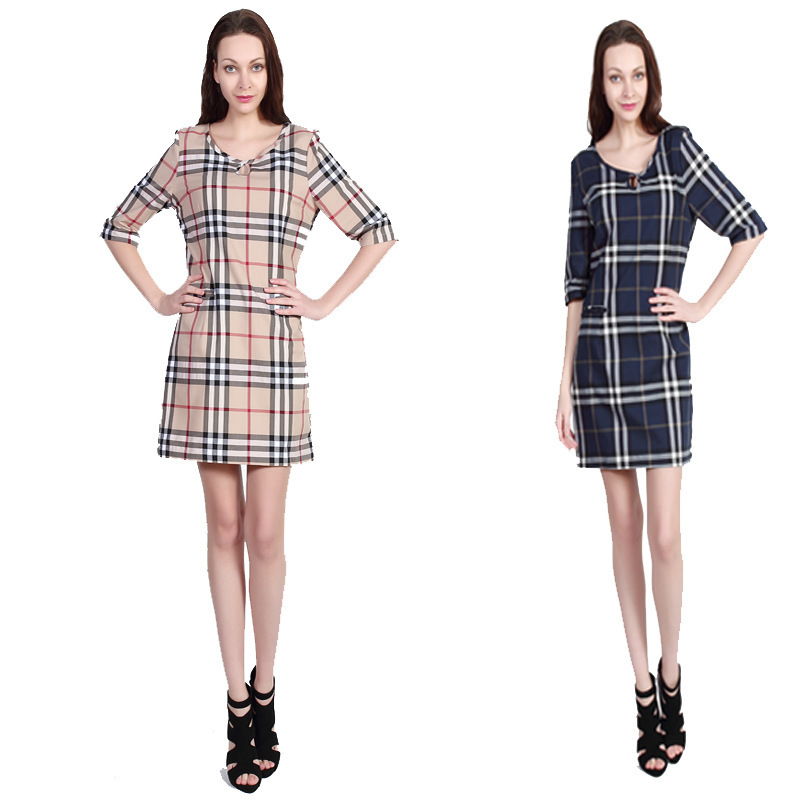 Hot Sale Women Classic Brand Plaid Dresses Casual 2015 Fashion Uk Style Striped Dress Half
