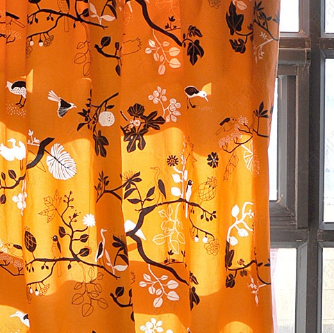 Customize curtain series 100% cotton canvas active curtain cushion cover table cloth orange bird(China (Mainland))
