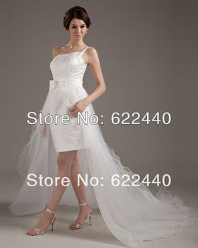 Newest Design One Shoulder Satin Sequins Short Front And Long Back Wedding Dress With Detachable Train