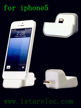 New Fashion Grey+White Charger Docking Station for iPhone 5 WALL Dock Charger Best Selling