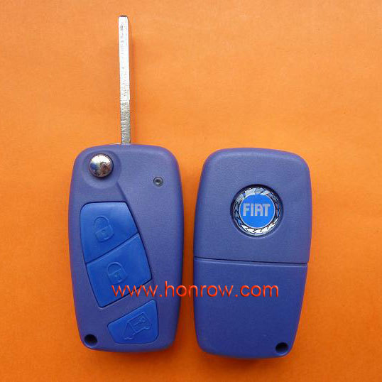 Good quality 3 button flip remtoe key cover for fiat key fiat key remote 500 with blue color(China (Mainland))