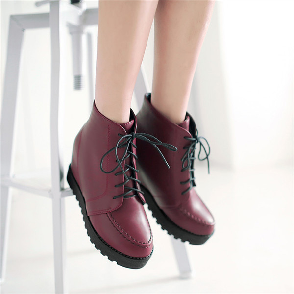 2015 free shipping new arrives solid lace up ankle
