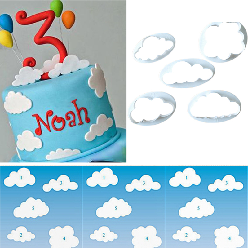 5PCS/Lot Cloud Plastic Fondant Cuttter Cake/Cookie/Buscuit Cutter Mould Fondant Mold Cake Sugarcraft Decorating Tools(China (Mainland))