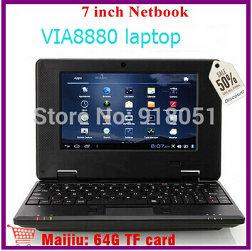 "2015new 2pcs 7 inch Mini Dual core Netbook with HDMI Slot VIA WM8880 512,4GB android 4.2 RJ45 7"" Mini laptop Free drop shipping(China (Mainland))"