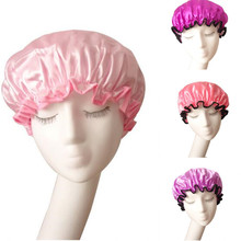 1 Pcs New Solid Satin  EVA Double Waterproof Shower Cap Bathing Accessories Good Quality Hair Bathing Cap(China (Mainland))