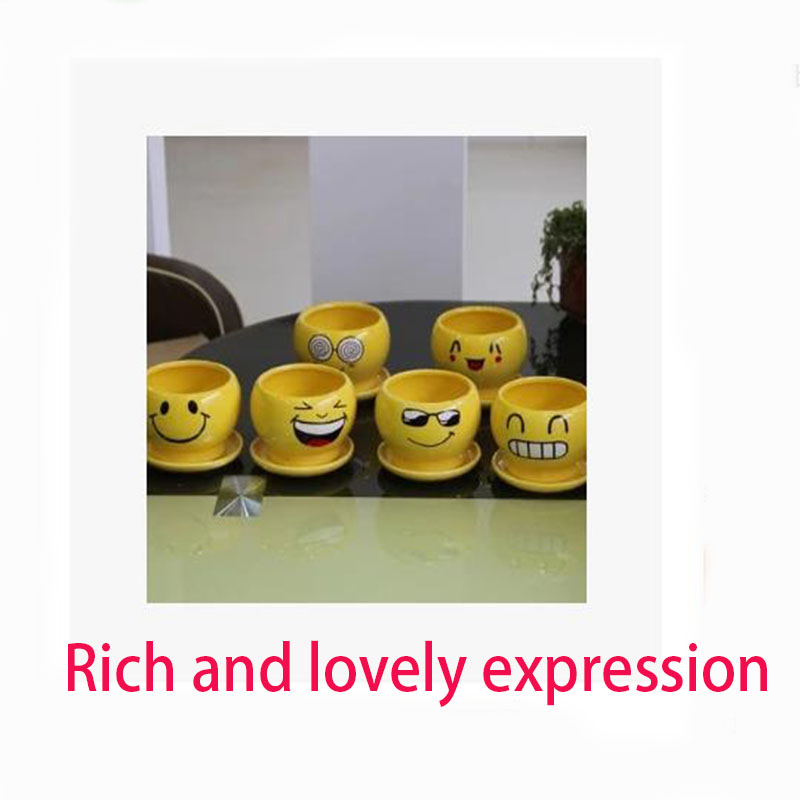 2017 selling goods face ceramic ceramics pot meat and smiling cartoon  flowerpot mini cute creative the style is cartoon - us70
