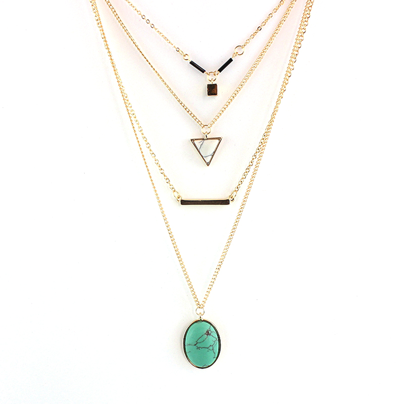 CHOKER Brand Bohemia Body Chain Triangle Necklaces Multilayer Turquoise Gold Necklace for Women Boho Summer Jewelry SNE160055(China (Mainland))