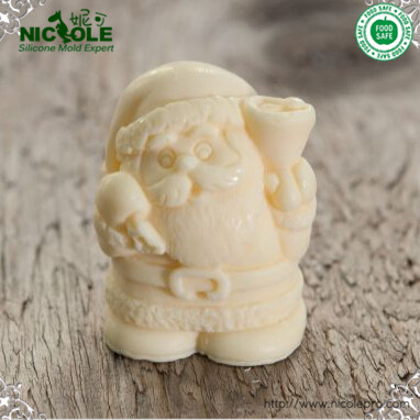 Free Shipping 3D Santa Claus Silicone Candle Moulds Silicone Christmas Resin Craft Home Decor Soap Chocolate Mold(China (Mainland))