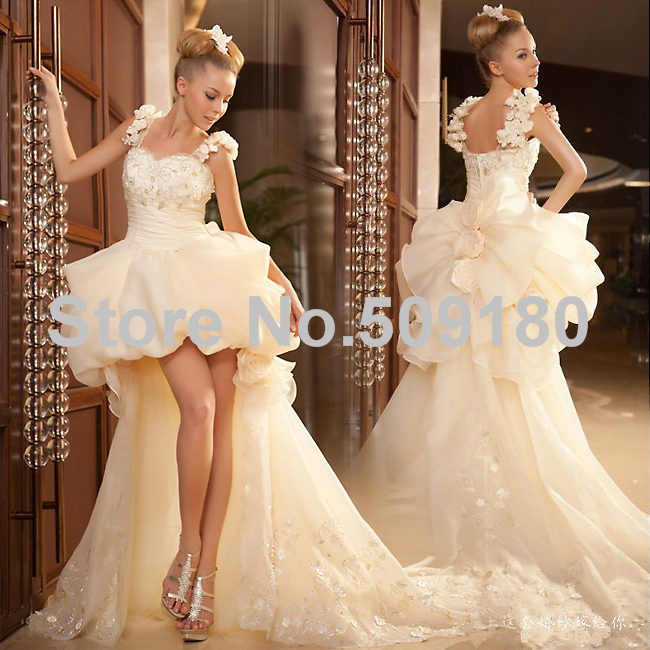 Hot Sale Beautiful Bridal Custom Made Floor Length Long Wedding Gown design PX270 wedding dress short in front with long train(China (Mainland))