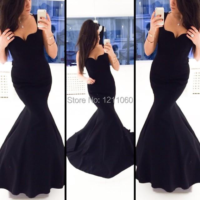 Длинные вечерние платья черного цвета