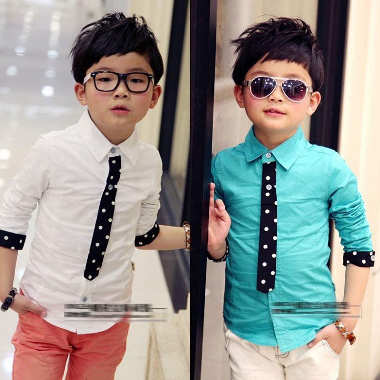 kids clothes boys spring/fall collar shirt with tie two color (green and white) full sleeve shirt fashion boy wholesales(China (Mainland))