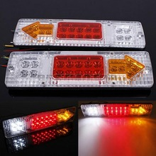 2X 12V LED TRUCK TRAILER CARAVAN VAN REAR TAIL STOP REVERSE INDICATOR LIGHT LAMP Free Shipping(China (Mainland))