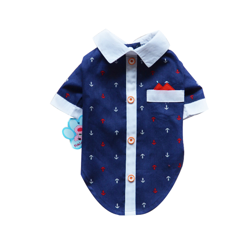 Ship Print Shirt Lapel Costume Dog Clothes The Spring Festival T shirt Autumn Spring Clothing For