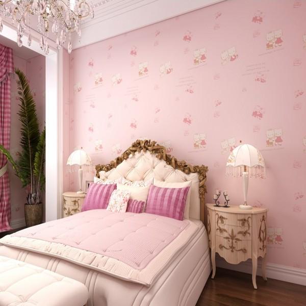 New Hello Kitty Princess Room Non-woven Wallpaper Environmental Protection Cartoon Girls Bedroom Wallpapers Home Decoration(China (Mainland))