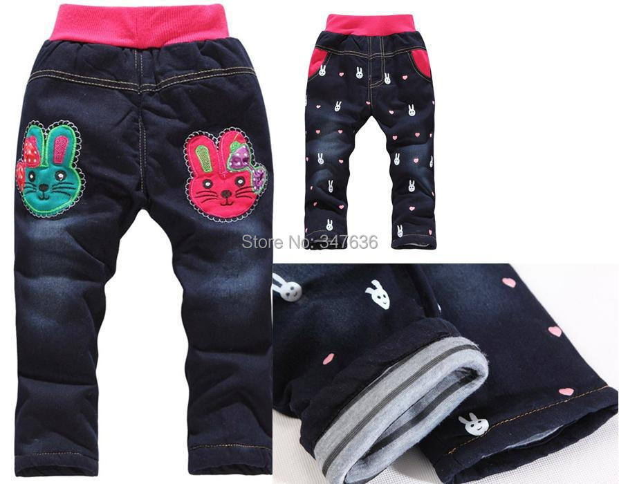 New Arriveal 2014 Winter Kids Jeans 2-3-4-5-6 years girl denim jeans thick cotton inner warm pants children clothing 1pc retail(China (Mainland))