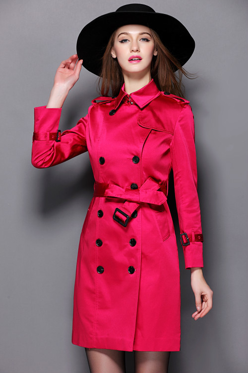Hot sales New 2015 Spring Autumn Brand Classic double-breasted British style Mid-Length Rose Red trench coat#B15122Одежда и ак�е��уары<br><br><br>Aliexpress