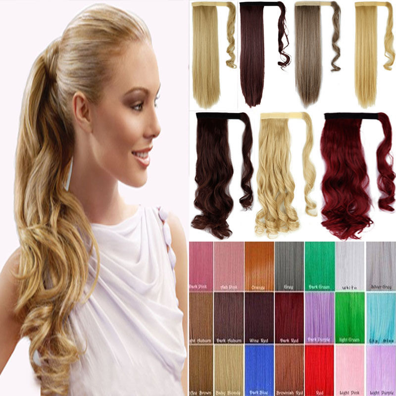 """Woman Ponytail Fashion Hairpiece 24"""" 61cm Long Magic Paste Straight Synthetic Lady Ponytails Hairs Extension Girls Pony Tail(China (Mainland))"""