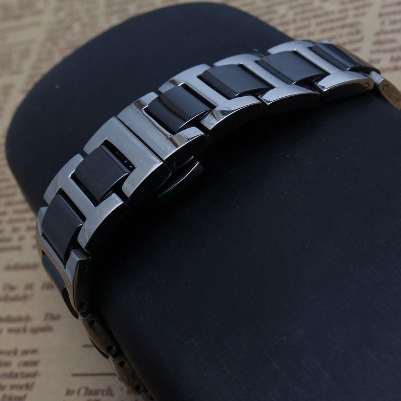 Высокое качество популярные ремешки черный керамическая из нержавеющей стали ремешок для часов ремешок браслеты для наручных часов 16 мм 18 мм 20 мм горячая