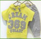 Hot New 2016 summer girls boys cream 369 children clothing set baby clothes short-sleeve T-shirt hoodies pant kids sport suit(China (Mainland))