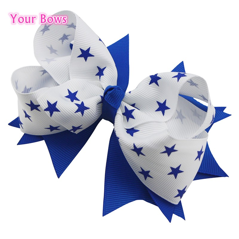1PCS 5 Inches Elegant Blue Star Hair Bows For Girls Hand Made Lovely Kids Baby Bows Beautiful Hair Clips Hair Ribbons Ornaments