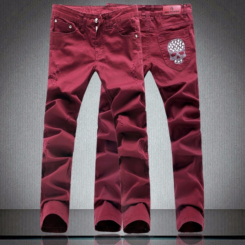 New Wine Red Ripped Jeans Men With Holes Super Skinny Famous Designer Brand Slim Fit Destroyed Torn Jean Pants For Male Homme